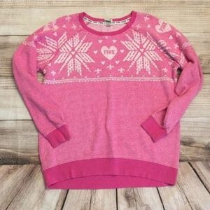 PINK Size Small pink snowflake sweater